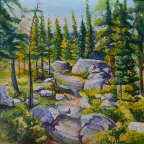 "'Sub Alpine Forrest Study' - watercolor - 8"" x 8"" -Available for Purchase"